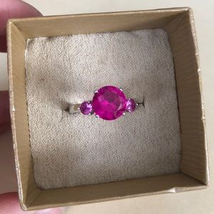 Pink Sapphire Sterling Silver 3-Stone Ring